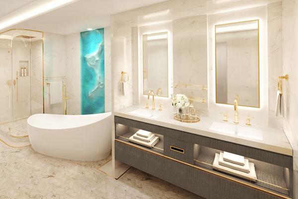 Bathroom at Wish Tower Suite ©Disney Cruise Line