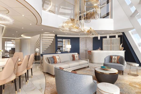 Livingroom at Wish Tower Suite ©Disney Cruise Line