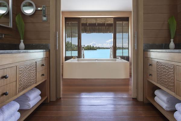 Overwater Bungalow Suite Bathroom ©Four Seasons Resort Bora Bora