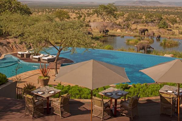 Pool with Elephant View ©Four Seasons Safari Lodge Serengeti